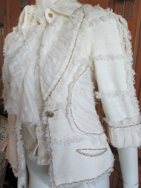 Chanel ivory elaborate embellished silk vest and jacket set 8