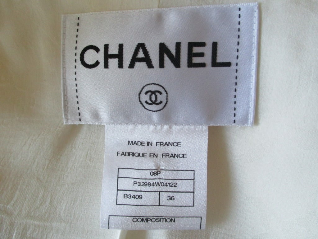 Chanel ivory elaborate embellished silk vest and jacket set 10