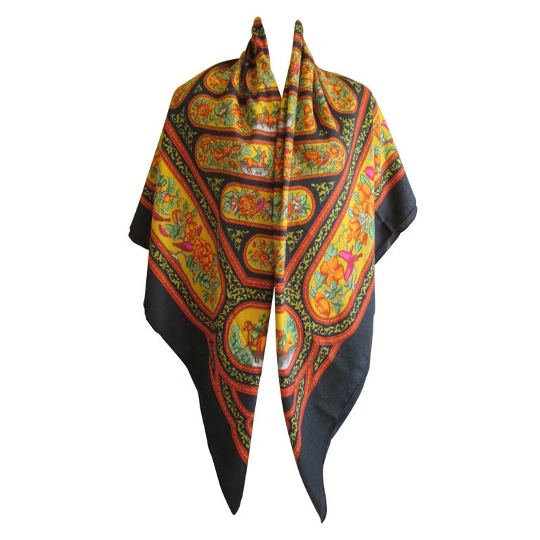 "Hermes rare ""Qalamdan"" cashmere and silk shawl / blanket 1"