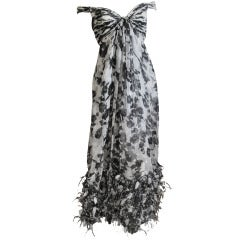 Oscar de la Renta Silk Chiffon Dress with feather trim