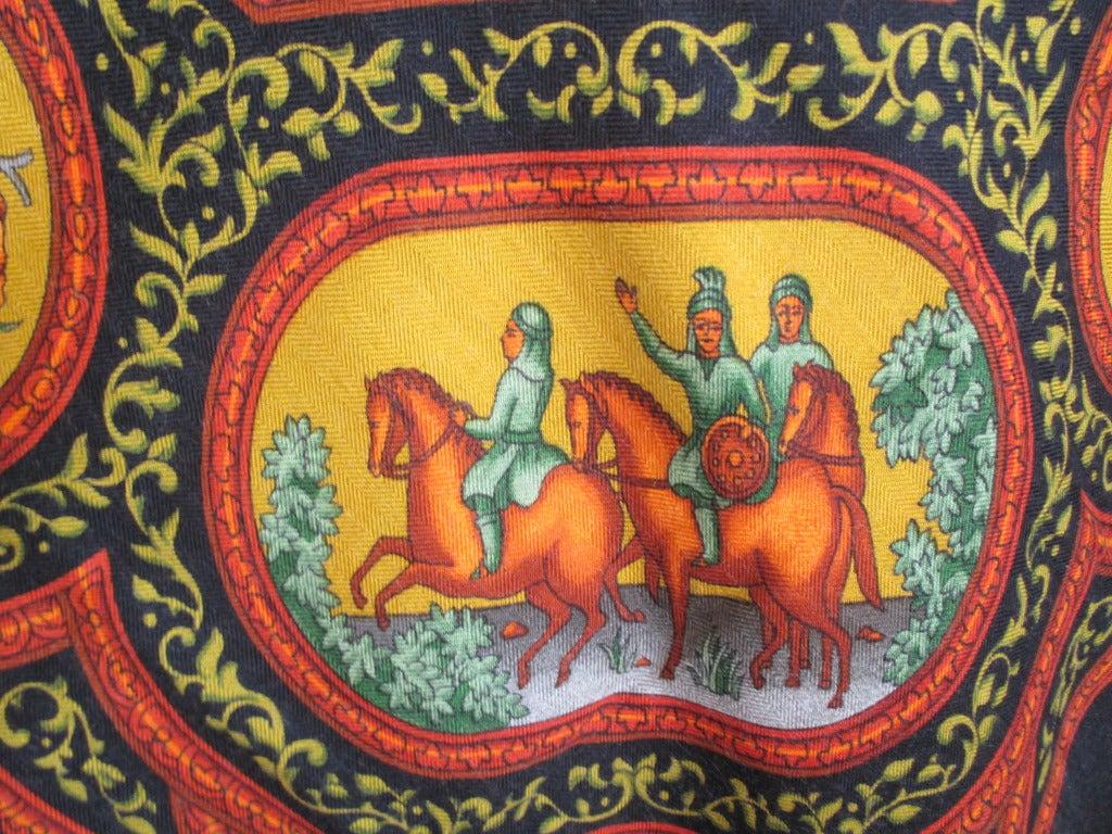 "Hermes rare ""Qalamdan"" cashmere and silk shawl / blanket 3"