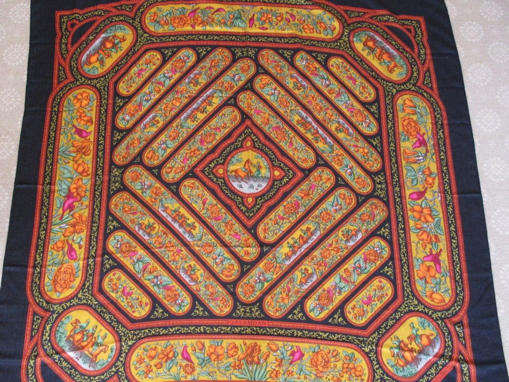 "Hermes rare ""Qalamdan"" cashmere and silk shawl / blanket 4"