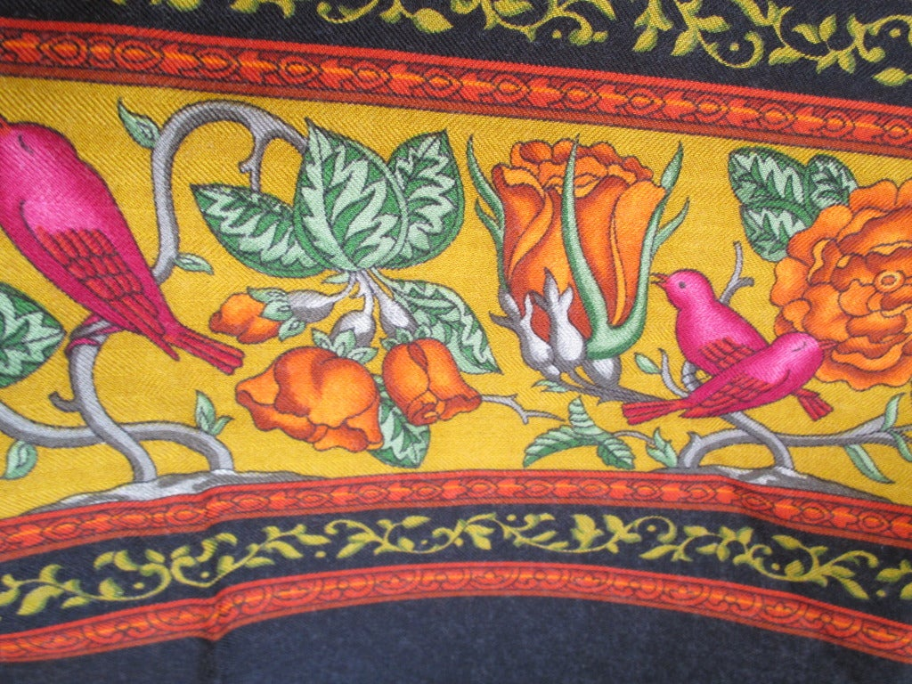 "Hermes rare ""Qalamdan"" cashmere and silk shawl / blanket 8"