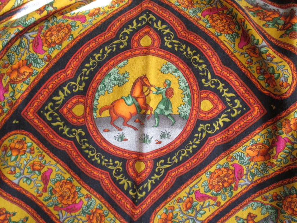 "Hermes rare ""Qalamdan"" cashmere and silk shawl / blanket 9"