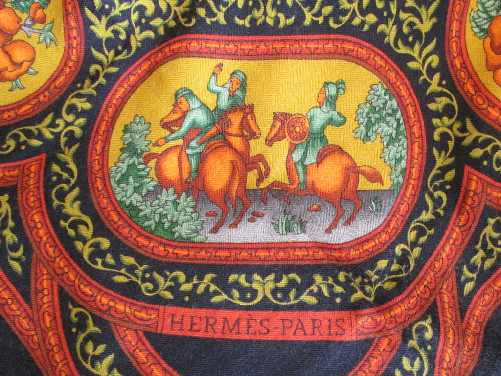 "Hermes rare ""Qalamdan"" cashmere and silk shawl / blanket 10"