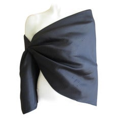 Chado Ralph Rucci Black Silk One Sleeve Cape