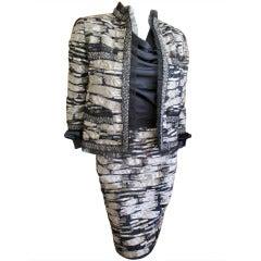Oscar de la Renta Navy and Silver Sequin suit