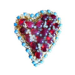 Arnold Scaasi Bold Heart Pin with Ruby Cabachon and Turquoise
