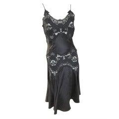 Alexander McQueen Lace Insert Black Silk Dress