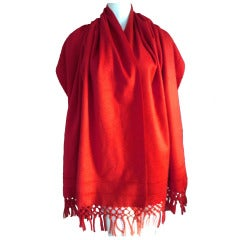 Ralph Rucci Tomato Red Doubleface Cashmere Wrap Shawl with Fringe