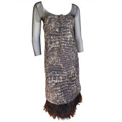 Ralph Rucci Feather Trim Quilted Alligator Pattern Cocktail Dress
