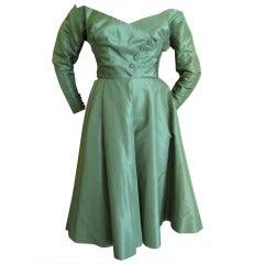 Ciel Chapman Green Silk Off the Shoulder Dress