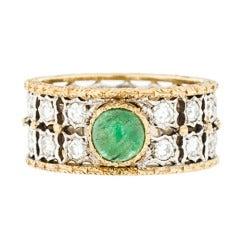 Buccellati 18kt Gold Diamond Ring with Emerald Cabachon sz 4 1/2