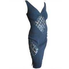 Valentino Silk Little Black Dress with Sequin Sheer Net Inserts