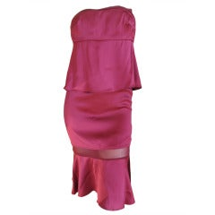 Yves Saint Laurent by Tom Ford Sexy Sheer Panel Purple Silk Dress