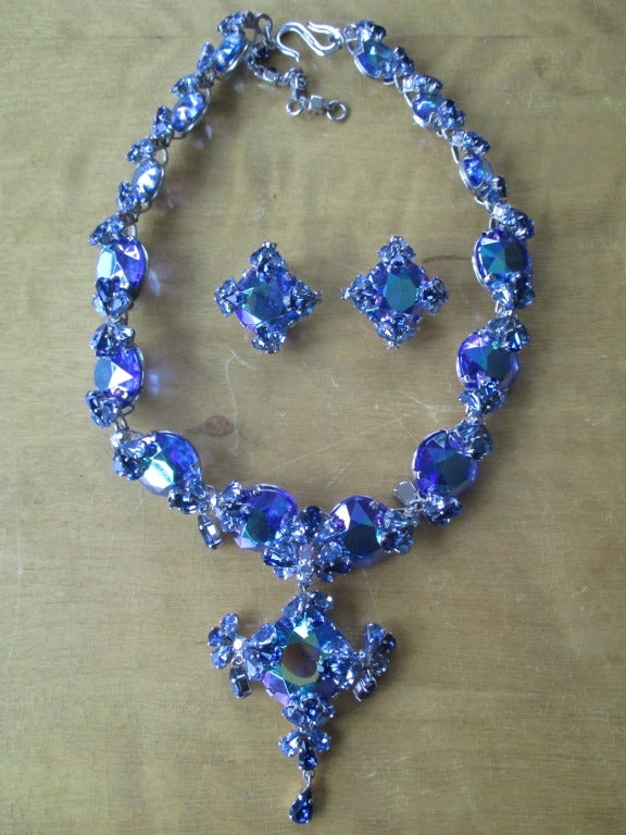 Christian Dior 1958 Blue Stone Necklace & Earring Set by Grosse Germany In Excellent Condition In San Francisco, CA