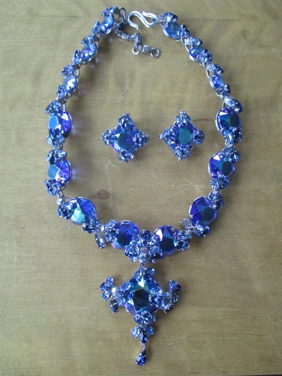 Women's Christian Dior 1958 Blue Stone Necklace & Earring Set by Grosse Germany