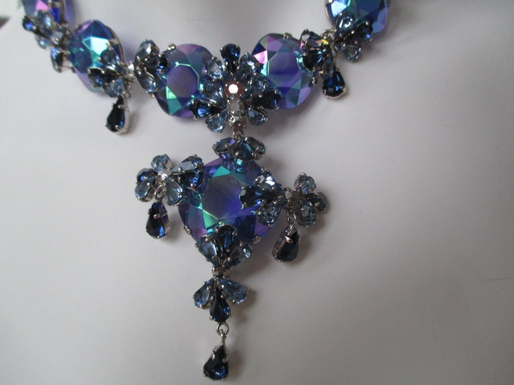 Christian Dior 1958 Blue Stone Necklace & Earring Set by Grosse Germany 1