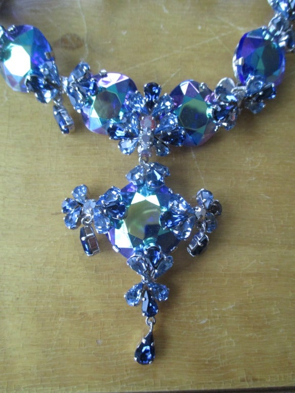 Christian Dior 1958 Blue Stone Necklace & Earring Set by Grosse Germany 2