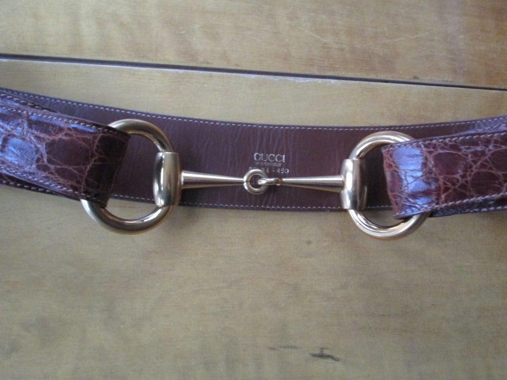 Gucci Genuine Alligator Wide Horse Bit Belt  34