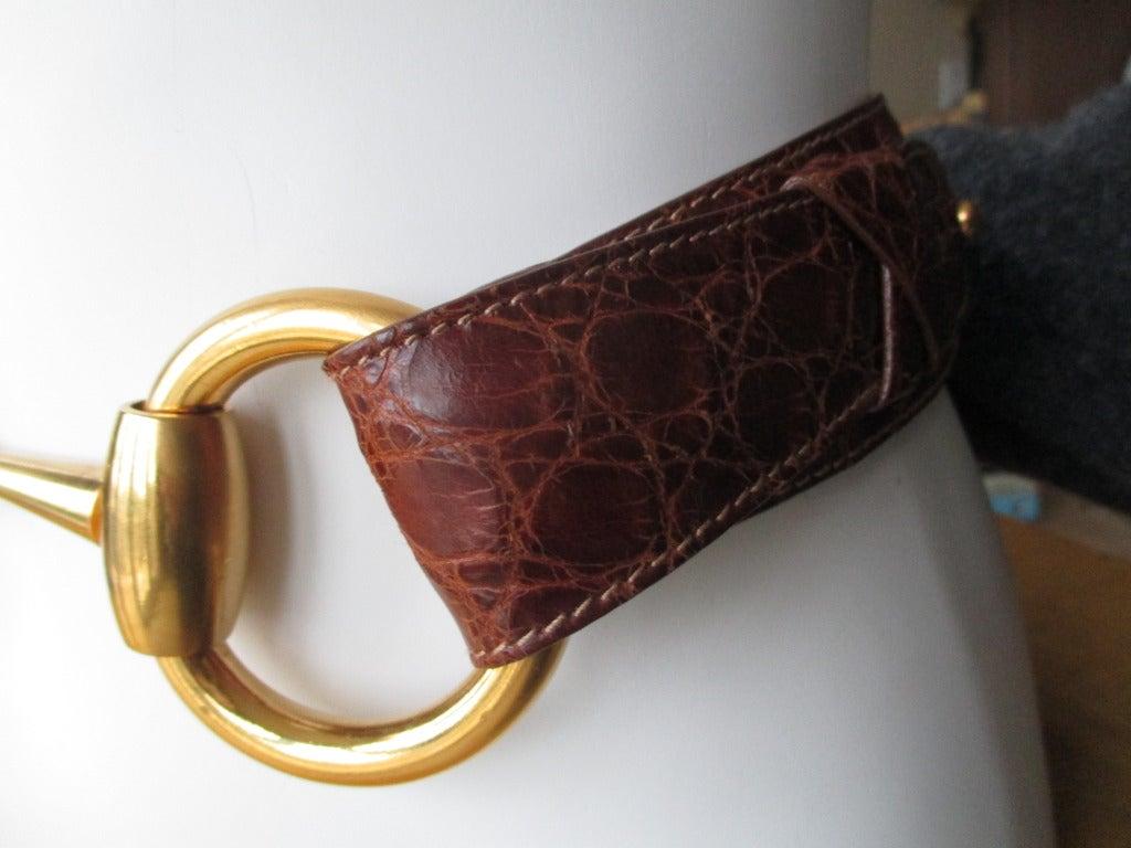 Gucci Genuine Alligator Wide Horse Bit Belt 1