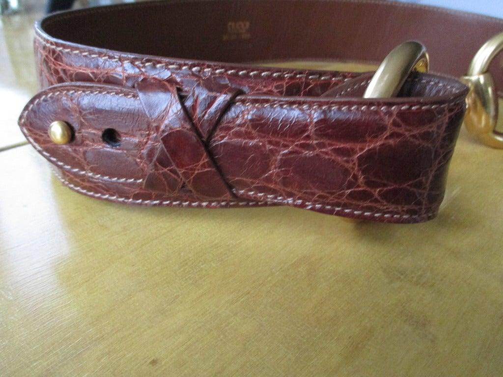 Gucci Genuine Alligator Wide Horse Bit Belt 2