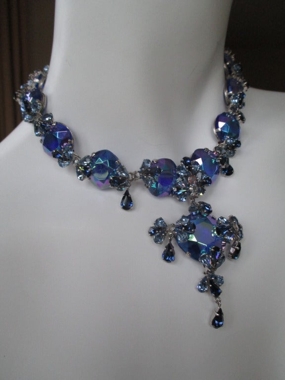Christian Dior Vintage Blue Stone Necklace & Earring Set by Grosse Germany. Earrings are 1 1/4