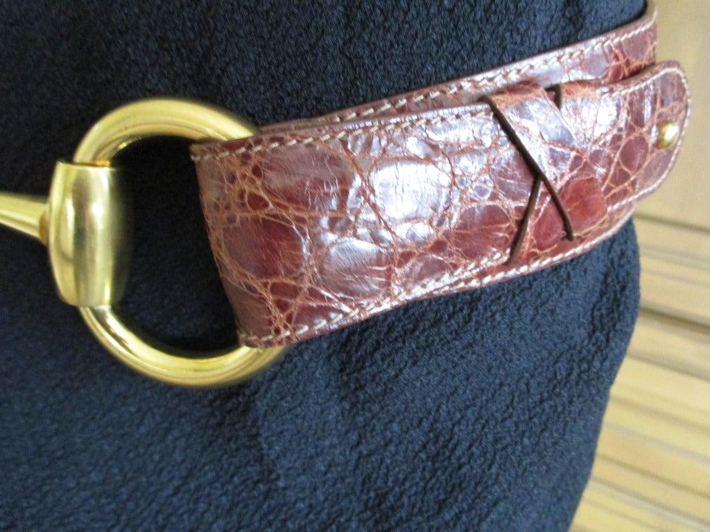 Women's Gucci Genuine Alligator Wide Horse Bit Belt