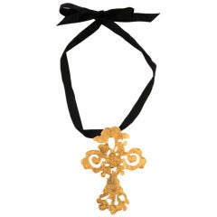 Christian Lacroix Giant Gold Cross Necklace