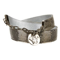 Versace leather lined Mesh Belt with Medusa Head Charm New in Box