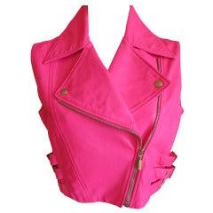 Versace Neon Pink Leather Moto Vest