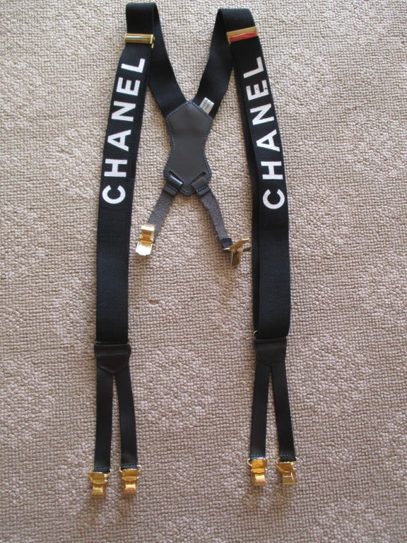 chanel suspenders. chanel black suspenders 2 s