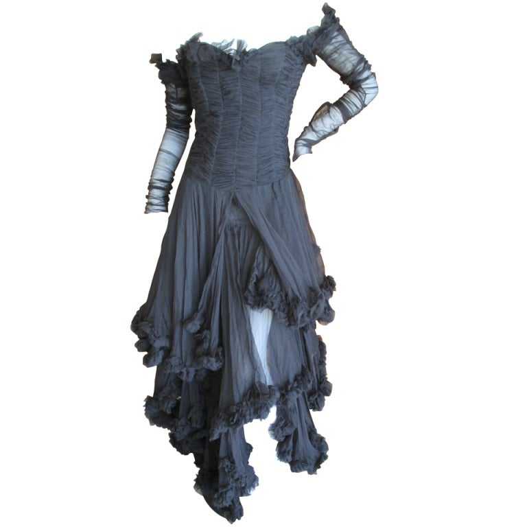 Alexander McQueen F' 2002 Dramatic Black Dress 1