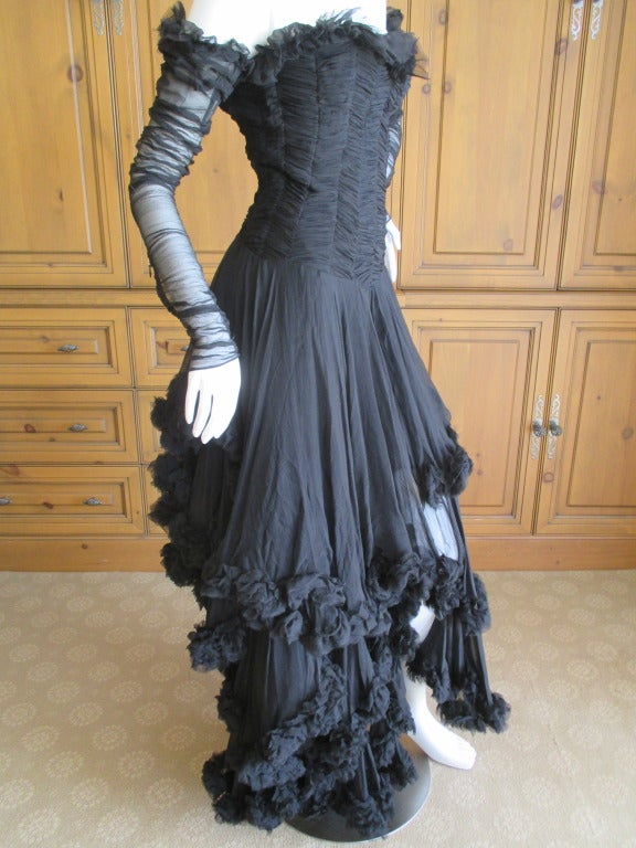 Alexander McQueen F' 2002 Dramatic Black Dress In Excellent Condition For Sale In San Francisco, CA