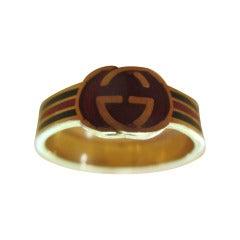 Gucci 18kt Gold Enamel Cigar Band Ring