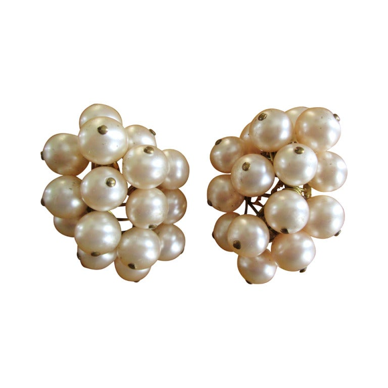 Chanel Pearl Cluster Clip Earrings 1