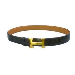 """Hermes Gold """"H"""" Buckle Alligator Belt"""