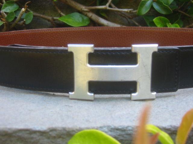 """Hermes Constance Silver """"H"""" Buckle Black Leather Belt 2"""