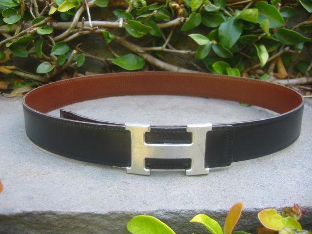 """Hermes Constance Silver """"H"""" Buckle Black Leather Belt 5"""