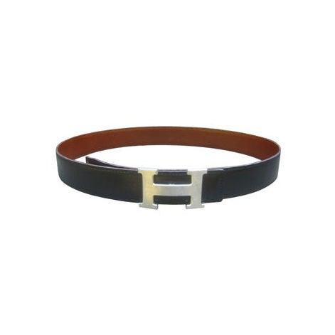 """Hermes Constance Silver """"H"""" Buckle Black Leather Belt 1"""