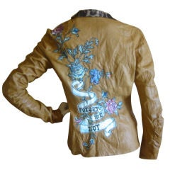Roberto Cavalli Heavily Embroidered Hippy Chic Leather Jacket