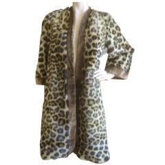 Glamorous Vintage 50's Beaver Trimmed Genuine Spotted Fur Coat