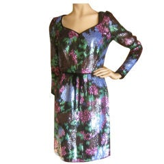 Oscar de la Renta Remarkable Vintage Sequin Dress Sz