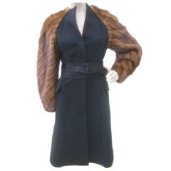J.Mendel Dramatic Coat with Mink Sleeves