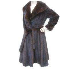 "Blackglama Luxurous Belted ranch mink coat 100"" sweep"