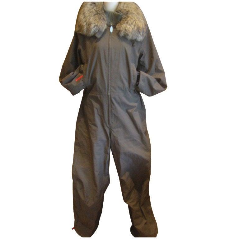 Prada Gor Tex Fur Trimmed One piece Ski Suit sz L