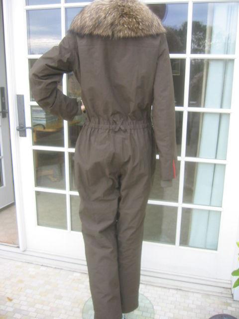 Prada Gor Tex Fur Trimmed One piece Ski Suit sz L 3