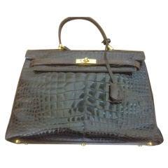 Vintage Black Alligator Handbag made in France
