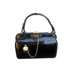 Vintage French Alligator Handbag w Pocket Watch by Lederer