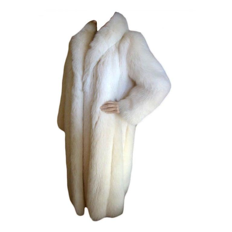 Revillon Luxurious Artic White Fox Fur Coat sz L For Sale